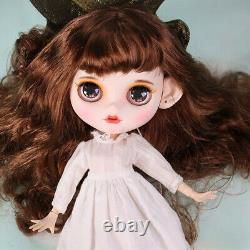 12 Neo Blythe Custom Nude Doll Long Brown hair special makeup joints body