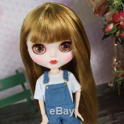 12 Neo Blythe Custom Nude Doll Long Golden hair special makeup lips joints body