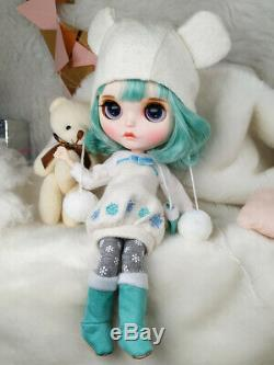 12 Neo Blythe Custom Nude Doll short Green hair special makeup lips joints body