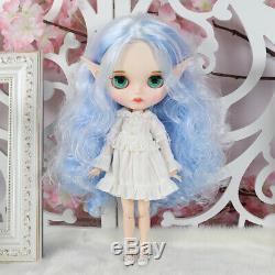 12 Neo Blythe Doll From Factory White Mix Blue Hair With Make-up Eyebrow