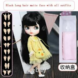 12 Neo Blythe factory Doll Black long hair matte face + all outfits + 9 hands