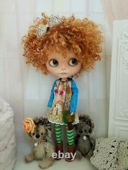 Custom neo-Blythe Ooak curly hair redhead doll with adorable freckles