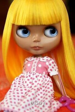 OOAK Custom Neo Blythe Doll Heather Sky RBL Taxi Yellow Saran Reroot U. S. Seller
