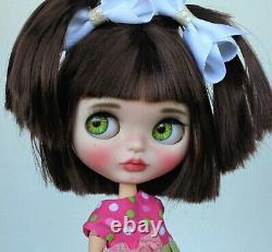 OOAK Custom Neo TBL Factory Fake Blythe Doll Brunette Brown Brunette Freckles