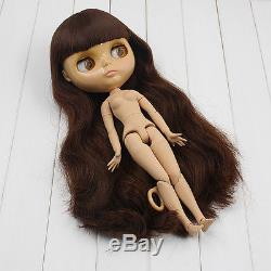 """Takara 12/"""" Neo Blythe Doll from Factory Nude Doll Brown Long hair tan skin"""